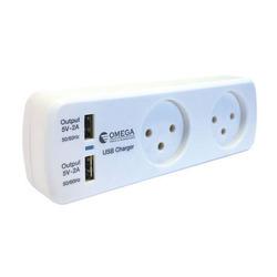 מפצל לחשמלּ 1 ל-2 OMEGA כולל USB