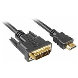 כבל למסך 1.8 מטר זכר זכר DVI HDMI