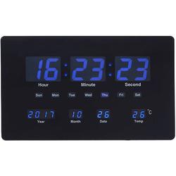 שעון קיר דיגיטלי תאריכון מד מעלות שחור כחול