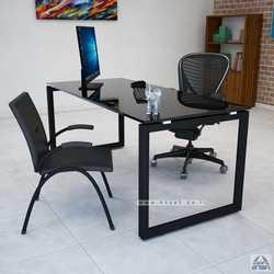 שולחן כתיבה זכוכית שחורה דגם Diamond רגל שחורה