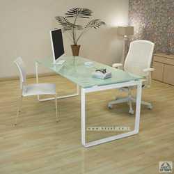 שולחן עבודה זכוכית לבנה מחוסמת דגם NIRO רגל לבנה