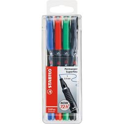 טוש לשקפים סטבילו סט 4 צבעים STABILO OHPen Permanent SET S