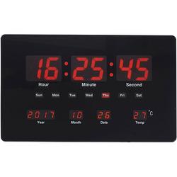 שעון קיר שולחן דיגיטלי תאריכון מד מעלות שחור