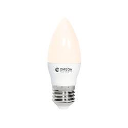 נורת לד נר חלבי C35 8W אור חם E27  OMEGA