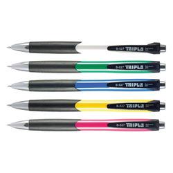 עט כדורי לחצן טריפל 12 יח' כחול גוף צבעו