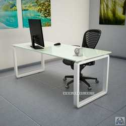 שולחן כתיבה זכוכית לבנה דגם רונדו