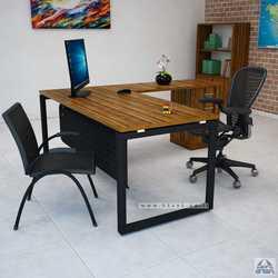 שולחן מנהלים פינתי דגם Diamond בגודל 140X70 רגל שחורה
