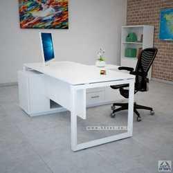 שולחן מנהלים פינתי שלוחת מנהל דגם Diamond רגל לבנה