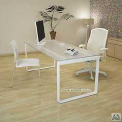 שולחן עבודה זכוכית דגם NIRO רגל לבנה