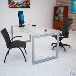 שולחן כתיבה זכוכית דגם Diamond רגל כסופה