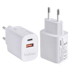 מטען חשמל קיר VALUE PRO 20W PD+OC3.0 לבן