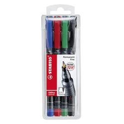 טוש לשקפים סטבילו סט 4 צבעים STABILO OHPen Permanent SET F