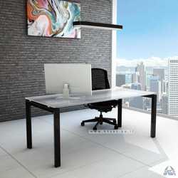 שולחן כתיבה זכוכית לבנה דגם ספיר
