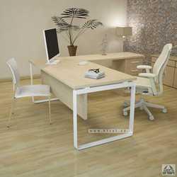 שולחן מנהלים פינתי דגם NIRO בגודל 160X160 רגל לבנה