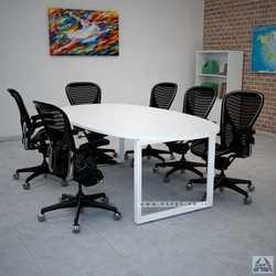שולחן ישיבות יוקרתי דגם DIAMOND רגל לבנה