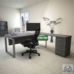 שולחן מנהלים פינתי דגם NIRO רגל כסופה