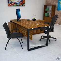 שולחן מנהלים פינתי שלוחת מנהל דגם Diamond רגל שחורה