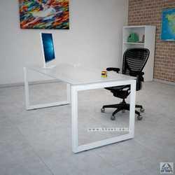 שולחן כתיבה זכוכית דגם Diamond רגל לבנה