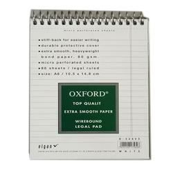 בלוק OXFORD ספירלה A6 לבן שורה