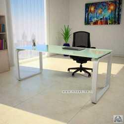 שולחן כתיבה זכוכית לבנה דגם OLA רגל כסופה