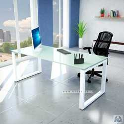 שולחן כתיבה זכוכית לבנה דגם וינדוו
