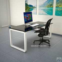 שולחן כתיבה זכוכית שחורה דגם רונדו