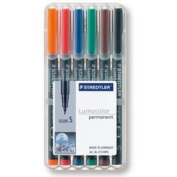 סט טוש לשקפים שטדלר 6 צבעים STAEDTLER Lumocolor SET 313 S