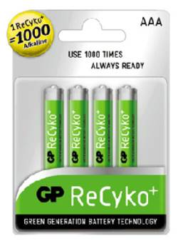 סוללות נטענות GP AAA 1000mAz RECYKO