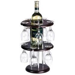 מעמד עץ עגול עם 10 כוסות יין