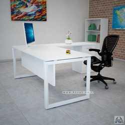 שולחן מנהלים פינתי דגם Diamond בגודל 140X70 רגל לבנה