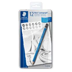 עפרון לשרטוט שטדלר סט 12 י'ח בקופסת מתכת