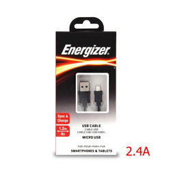 כבל סנכרון אנרגיזר שחור מיקרו USB 1.2
