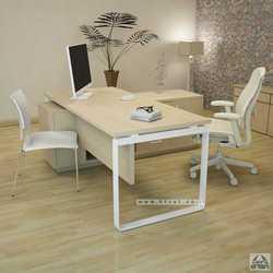שולחן מנהלים פינתי שלוחת מנהל דגם NIRO רגל לבנה
